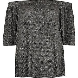 Metallic black bardot top