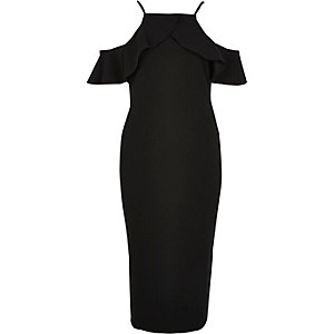 Black frill halterneck midi dress