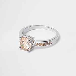 White and peach gem silver ring
