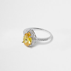 Silver tone yellow crystal ring
