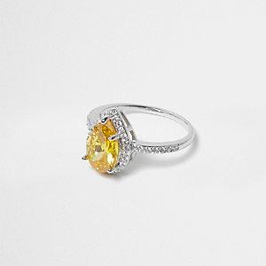 Bague argentée à cristaux jaunes