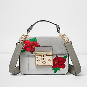 Grey floral embroidery lock front satchel bag