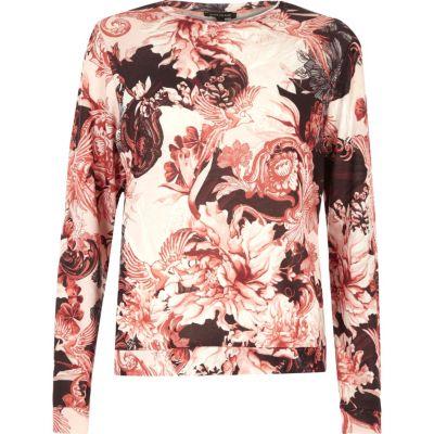 River Island Haut de pyjama imprimé à fleurs rose