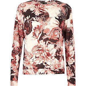 Roze pyjamatop met bloemenprint