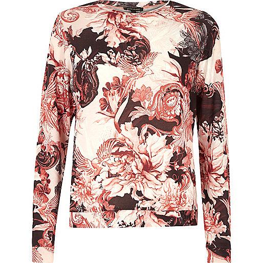 Haut de pyjama imprimé à fleurs rose