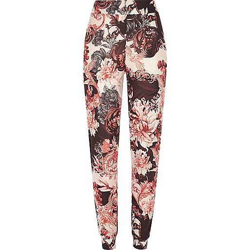 Pink floral print pajama bottoms