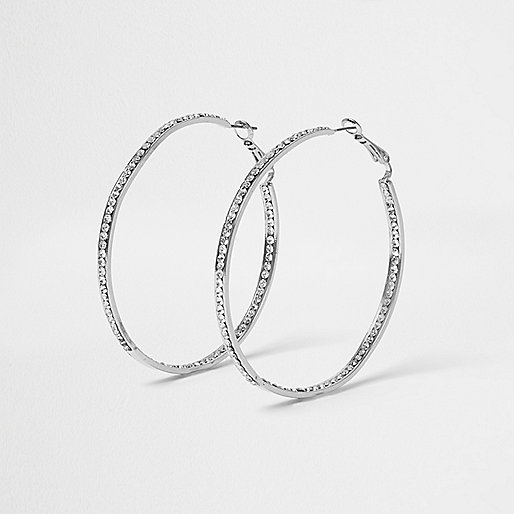 Silver tone diamanté encrusted hoop earrings