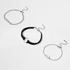 Silver tone circle bracelet multipack