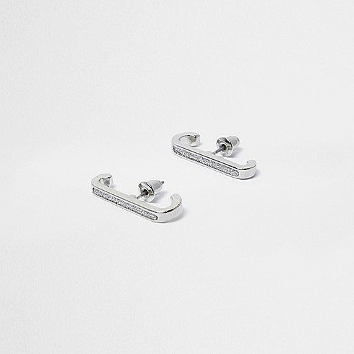 Silver tone sparkle bar earrings