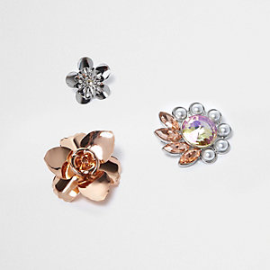 Rose gold and silver tone flower badges