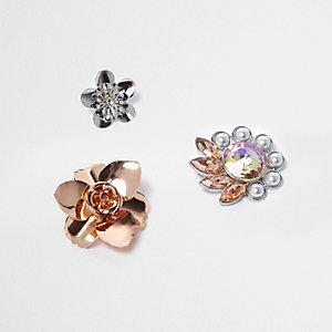 Pin's fleurs or rose et argenté