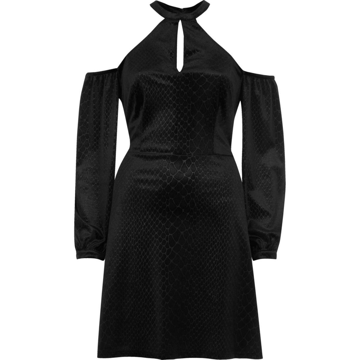 Black snake print choker cold shoulder dress