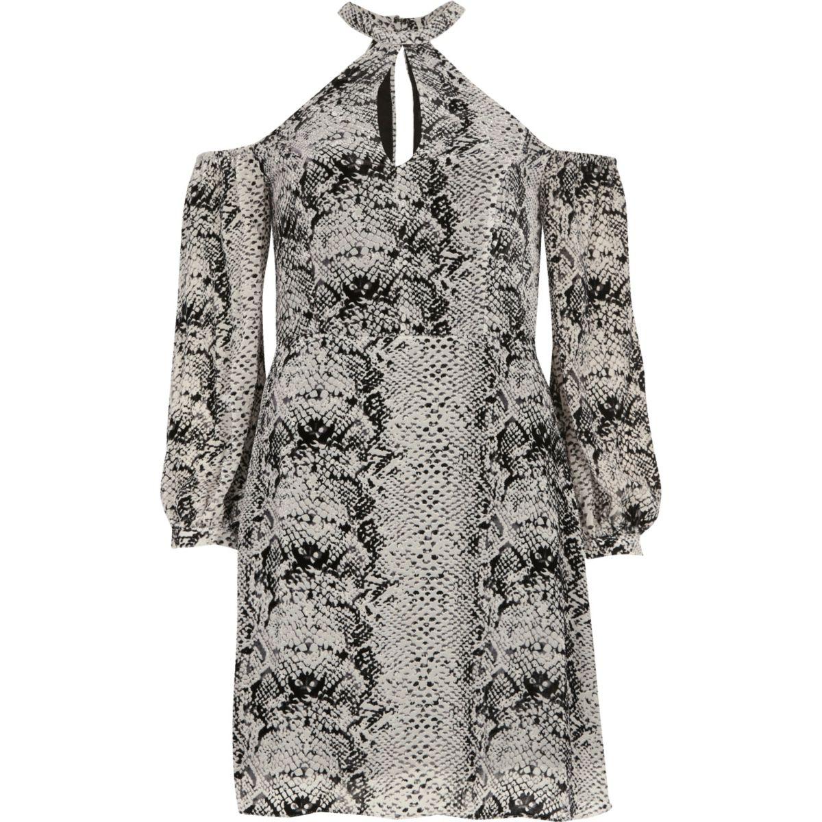 Grey snake print choker cold shoulder dress