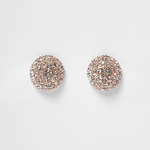 Rose gold tone stone stud earrings