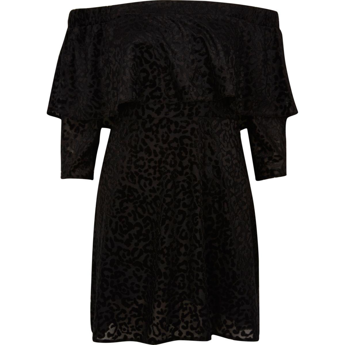 Bardot-Swing-Kleid mit Rüschen