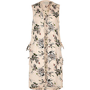 Cream floral print sleeveless duster jacket