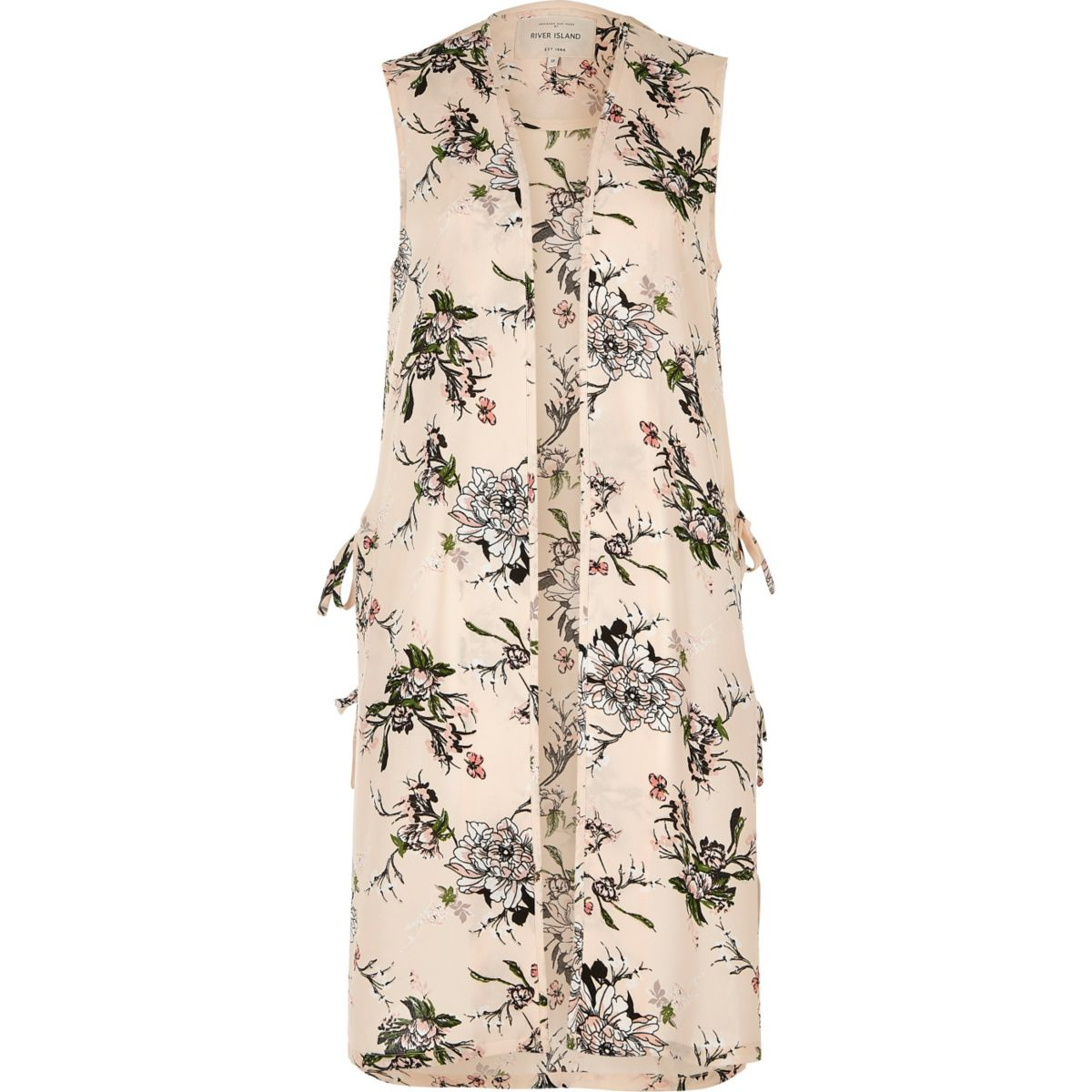 Cream floral print sleeveless duster jacket