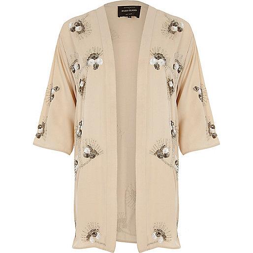 Cream floral embroidered sequin kimono