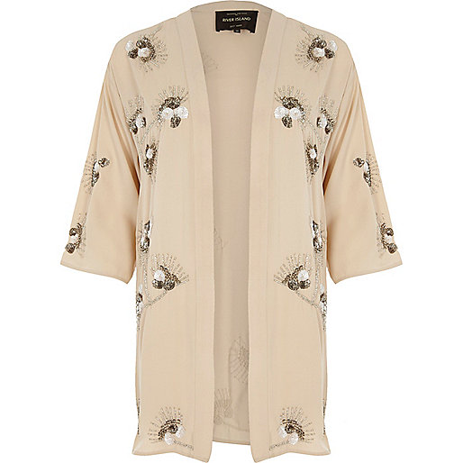 Cream floral embroidered sequin kimono