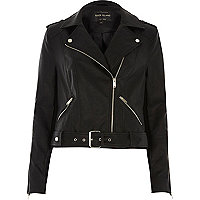 Black leather look belted biker jacket
