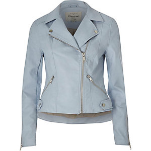 Blue faux leather biker jacket