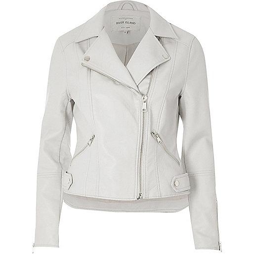 Light grey faux leather biker jacket