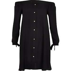Black tie sleeve bardot swing dress