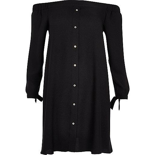 Black tie sleeve bardot swing dress