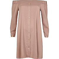 Blush pink tie sleeve bardot swing dress