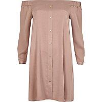 Robe évasée Bardot rose blush avec noeuds aux manches