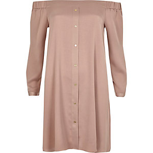 Blush pink tie sleeve bardot swing dress