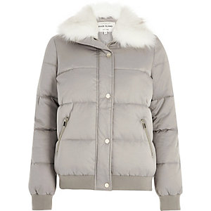 Grey faux fur trim puffer jacket