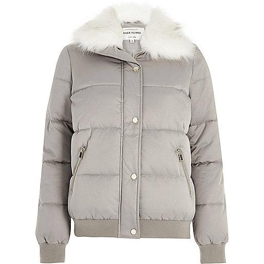 Grey faux fur trim puffer jacket