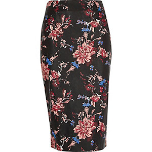 Black faux leather floral print pencil skirt