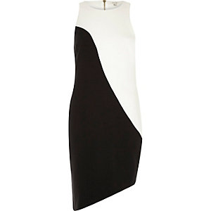 Black and white asymmetric bodycon dress