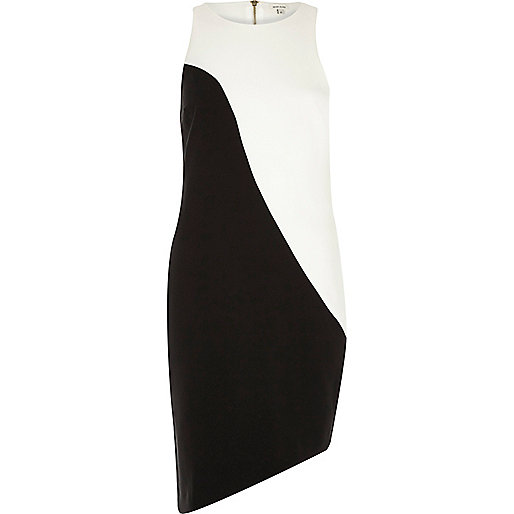 Black and white asymmetric bodycon dress