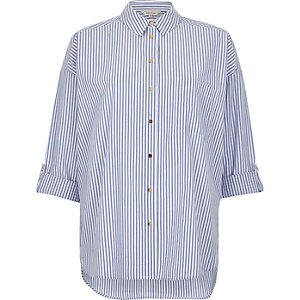 Blue stripe print casual shirt