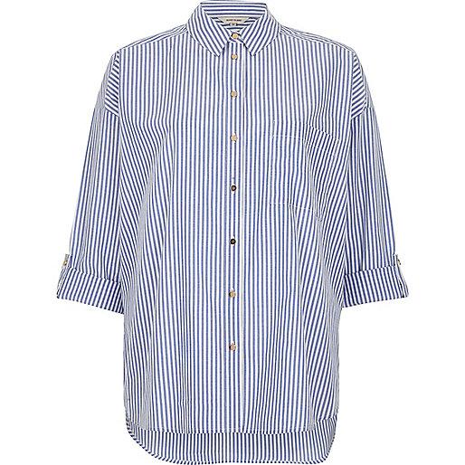 Blue stripe print casual shirt
