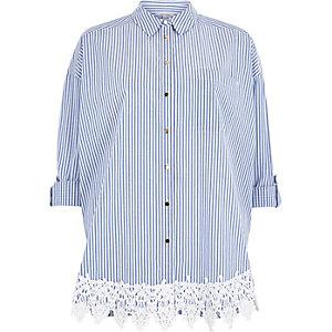 Blue stripe print lace hem shirt