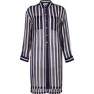 Blauw gestreept lang overhemd