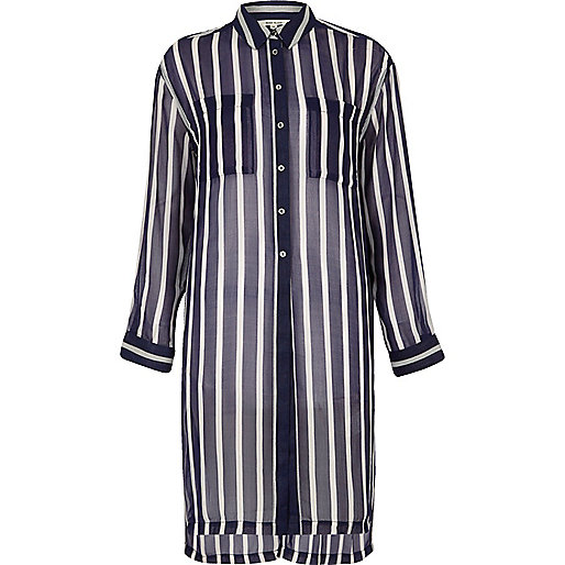 Blue stripe longline shirt