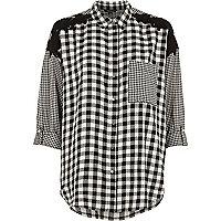 Black mixed gingham print oversized shirt