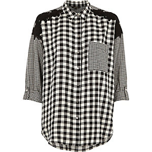 Black mixed gingham print oversized shirt