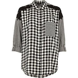 Chemise oversize à imprimé vichy varié noire