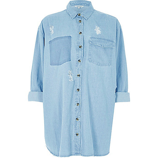 Light blue oversized denim shirt