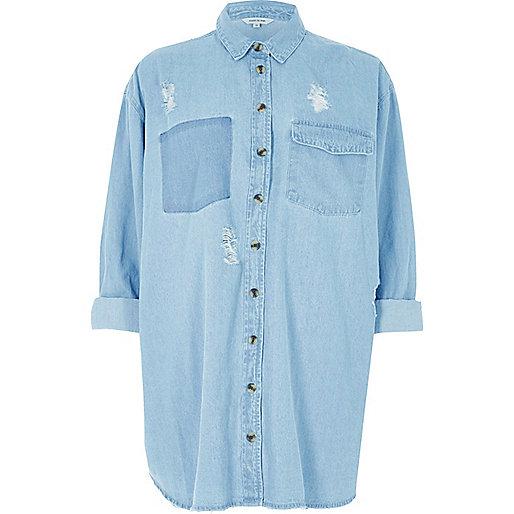 Chemise en jean bleu clair oversize