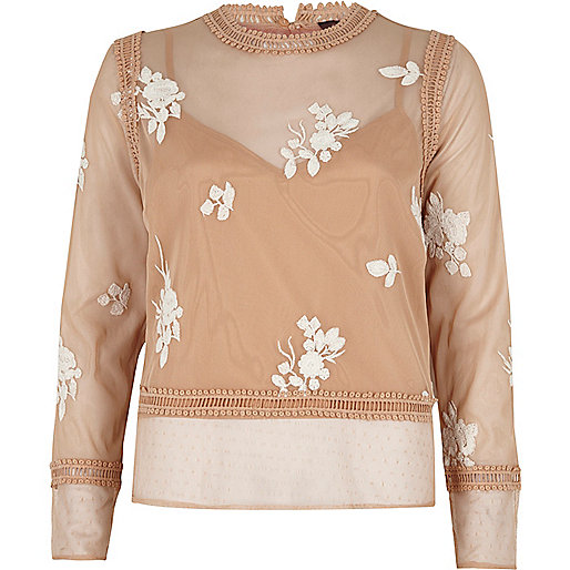 Beige floral embroidered lace trim top