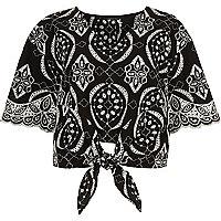 Black embroidery print tie front crop top