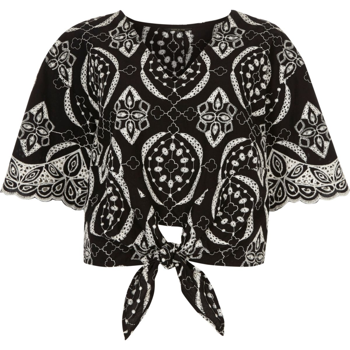 Black embroidery print tie front crop top