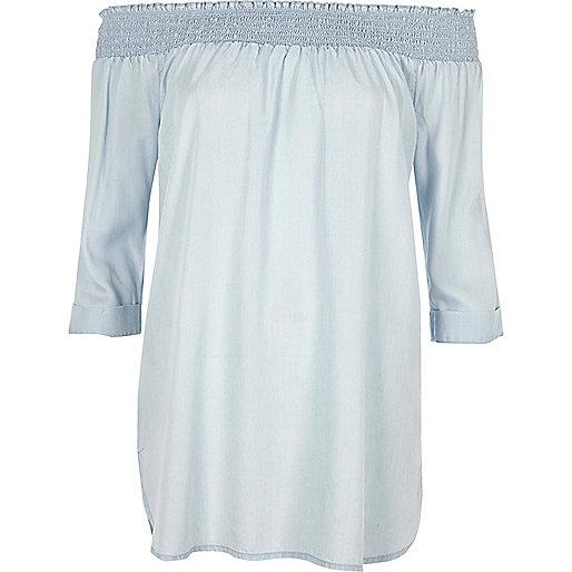 Light blue shirred bardot long sleeve dress